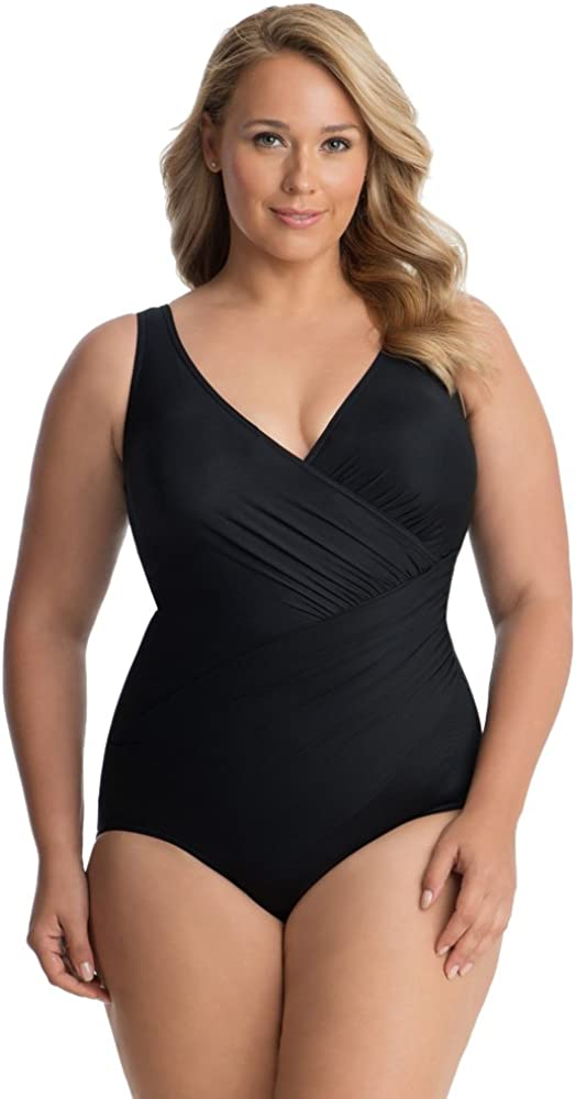 Miraclesuit Women's Swimwear Plus Size Solids Oceanus Tummy Control V-Neckline Soft Cup One Piece Swimsuit