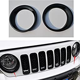 Wotefusi Car New Black Color Pair ABS Electroplating Front Headlight Lamp Light Cover Molding Trim Frame Rim Kit Set For Jeep Patriot 2011-2016 2012 2013 2014 2015