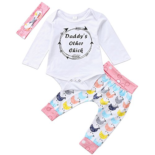 Annvivi Newborn Girls Daddy's Other Chick Baby Romper Colorful Animal Pants Outfit Set Winter Clothing (White, 0-6 - Newborn Chick