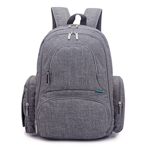 CoolBell-Baby-Diaper-Backpack-With-Insulated-Pockets-Large-Size-Water-resistant-Baby-Bag-Multi-functional-Travel-Knapsack-Include-Changing-Pad-Grey-by-CoolbellTM