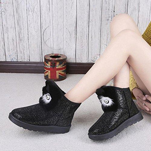 DEESEE(TM) Autumn Women Lady Winter Warm Casual Ankle Snow Boots Shoes Black 7SoWjXM