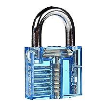 LTC® Professional Padlocks Lock Crystal Cutaway of Practice Training Skill Pick Lock for Beginners Locksmith with Two Keys Blue