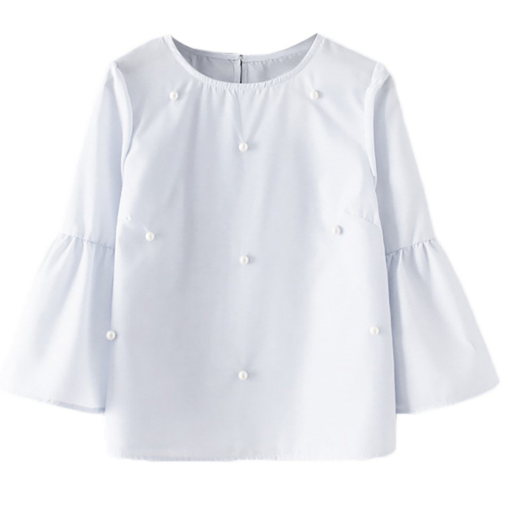 DIOMOR Women Casual O-Neck Solid Three Quarter Flare Sleeve Tops T-Shirt Beading Blouse White
