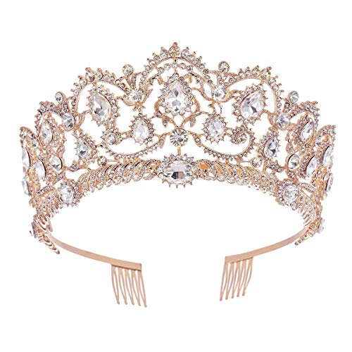 SNOWH Rhinestone Wedding Tiaras and Crowns - Rose Gold Bridal Crown Princess Tiara Jewelry Headpieces with Comb for Women and Girls