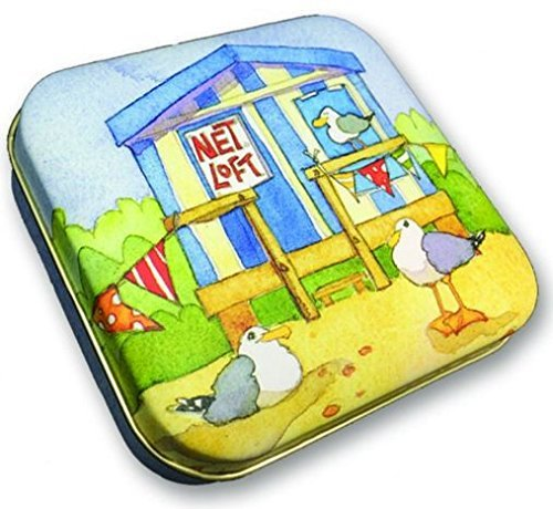 BEACH HUTS - BESIDE THE SEA - Emma Ball Colourful Hinged Lid PILL BOX / SWEETIE TIN - 9cm by BE