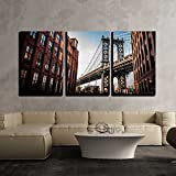 new york architectural metals - wall26 - 3 Piece Canvas Wall Art - Manhattan Bridge Seen from a Narrow Alley Enclosed by Two Brick Buildings - Modern Home Decor Stretched and Framed Ready to Hang - 24