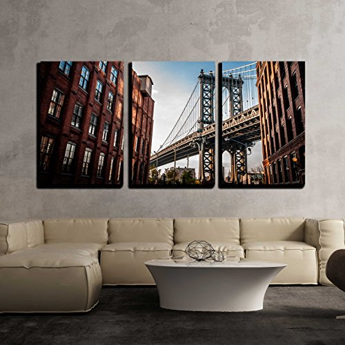 Manhattan Bridge Seen from a Narrow Alley Enclosed by Two Brick Buildings x3 Panels