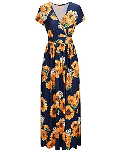 OUGES Women's V-Neck Pattern Pocket Maxi Long Dress(Floral-9,S)