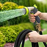 Hospaip 50ft Garden Hose - All New Expandable Water Hose with Double Latex Core, 3/4 Solid Brass Fittings, Extra Strength Fabric - Flexible Expanding Hose with Metal 8 Function Spray Nozzle