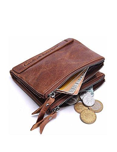 Lareinea Men Genuine Leather Cowhide Zip Wallet Vintage Bifold with Double Zipper Pockets (Brown) by Lareinae (Image #3)