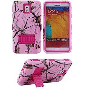 Galaxy Note 3 Case,Hbrid Case for Samsung Galaxy Note3,kickstand Case for Galaxy Note 3,Ezydigital Carryberry Note 3 Case, 3 in 1 Hybrid Case Cover with Kick-Stand for Samsung Galaxy Note 3 III N9000 (AT&T, Verizon, Sprint, T-Mobile and All Versions Compatible)-Pink Tree Camo Design