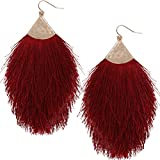 Humble Chic Fringe Tassel Statement Dangle Earrings - Lightweight Long Feather Drops, Burgundy - Fringe, Dark Red, Gold-Tone