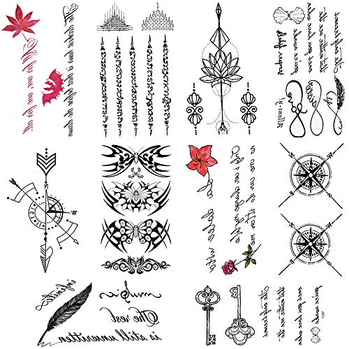 10 Sheets cute temporary tattoos by Yesallwas,Waterproof long lasting Fake Tattoos Stickers for for kids girls teens body tattoos (229)