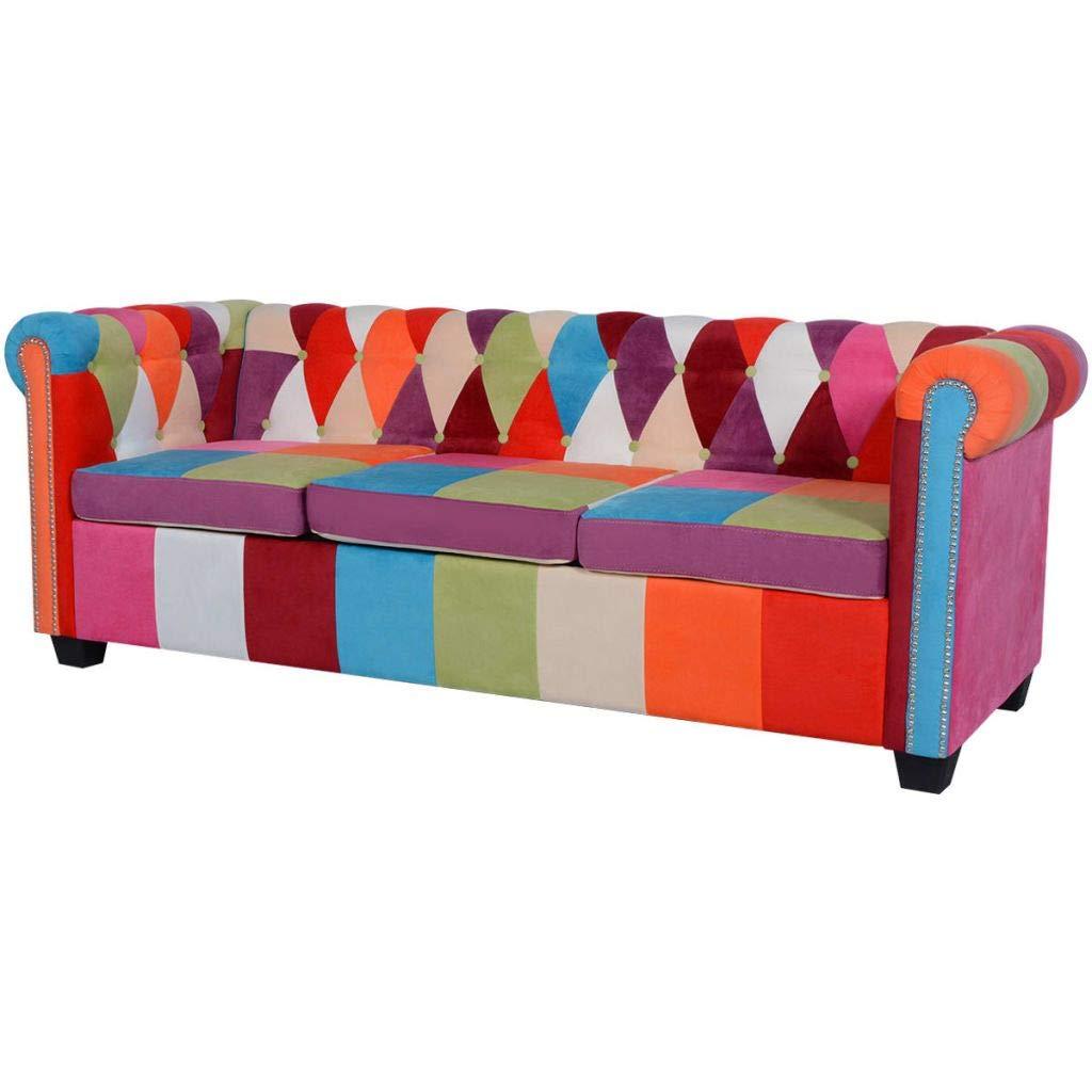 Festnight- 3-Sitzer Chesterfield Sofa | Loungesofa Polstersofa Stoffsofa mit Holzrahmen | Couch für Wohnzimmer Schlafzimmer 200,5 x 76 x 70 cm