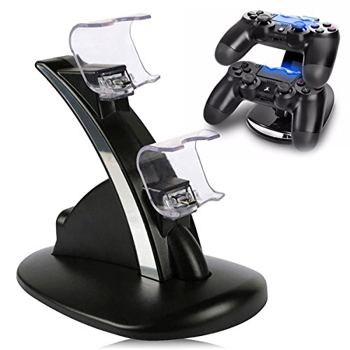 Veanic PS4 Controller Charger, Dual USB Charging Charger Dock Station Stand for Sony Playstation 4 PS4/PS4 Pro/PS4 Slim Dual Shock Controller