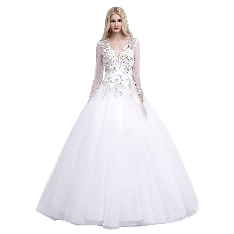 Ikerenwedding Women's Deep V-Neck Beaded Tulle Long Sleeves Ball Gown Bridal Wedding Dress