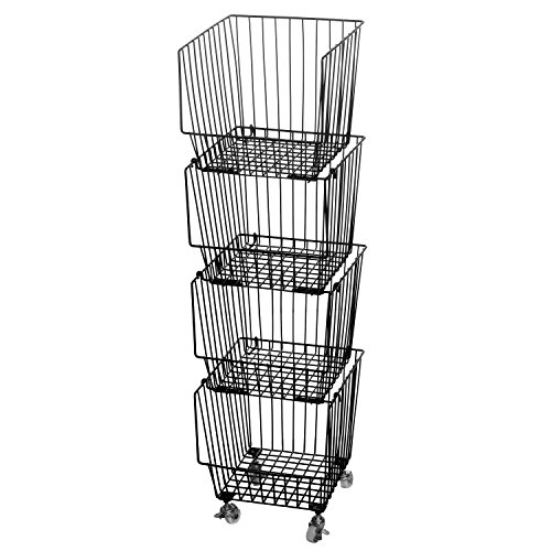 Wire Cart Open (Set of 4 Stackable Rolling Black Metal Wire Produce Storage Rack / Kitchen Pantry Organizer Bin w/ Wheels)