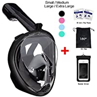 vaporcombo Snorkel Mask 180° view for Adults and Youth. Full Face Free Breathing Folding Design.[Free Bonuses] Cell Phone Universal Waterproof Case