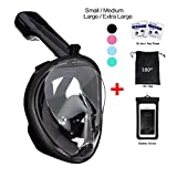 Snorkel Mask Full View 180 Degree Full Face Snorkeling Snorkel Masks Diving Mask Adult and Child Safety Diving with Action Camera Slot by Vaporcombo (Black, L/XL)