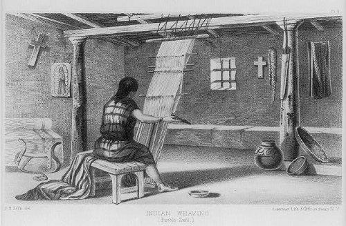 Photo: Indian Weaving,Pueblo Zuni,1853,Expedition,Indians of North America (Party America Pueblo)