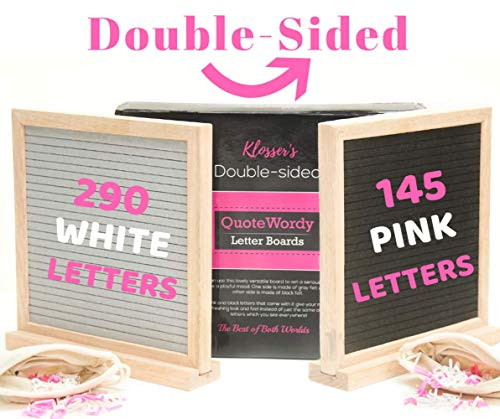 Felt Board Double Side With Letters. Gray and black felt board with letters. Felt letter board 10X10 with stand. Pink and white letters. Perfect as a signboard for love messages, mantras