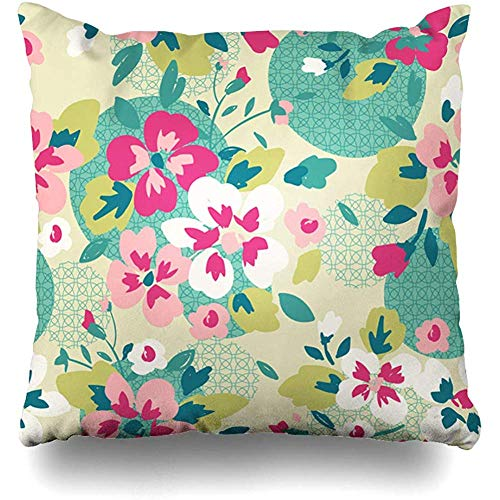 Decorative Throw Pillow Cover Continue Pink Abstract Flower Nature Tile Teal Branch Coil Color Drawing Design in Home Decor Pillowcase Square 18