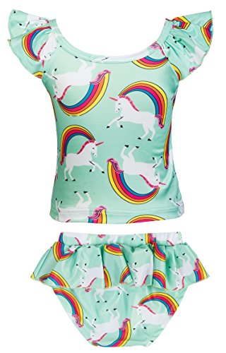 KABETY Girls Rainbow Unicorn Swimsuit Two Pieces Swimwear Bathing Suit Bikinis (Green, 3T) by KABETY (Image #2)