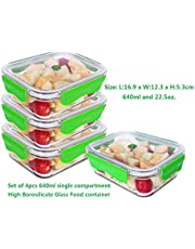 PREMIUM QUALITY(4 PACK SET)Tritan 640 ML Single Compartment Glass Lunch box/Food Storage Containers - Meal Prep Glass Containers set- Reusable Microwave ,Oven, Freezer & Dishwasher Safe BPA Free Lunch Containers with Smart For Snap Locking Tritan Lid Guarantee 100% Airtight Leakproof
