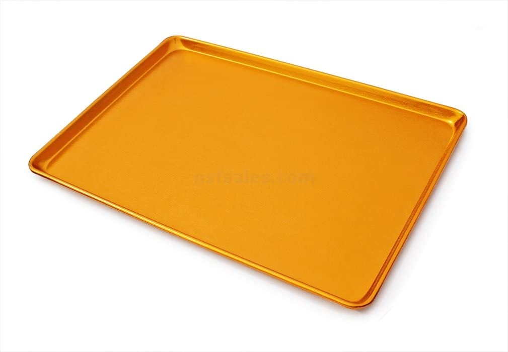 New Star Foodservice 37289 Commercial-Grade 16-Gauge Aluminum Textured Sheet Pan/Bun Pan Display Tray, Gold Anodized, 18