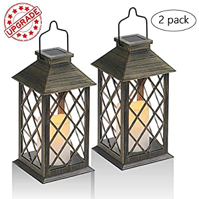 Solar Lantern,Outdoor Garden Hanging Lantern,Set of 2,Waterproof LED Flickering Flameless Candle Mission Lights for Table,Outdoor,Party Decorative