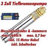 """AT- 3"""" Brunnenpumpe 750W-1 mit 15 m Kabel Edelstahl-Tiefbrunnenpumpe mit Messing-Laufrädern und max: 5,7 bar, 3000l/h bei 7 m"""