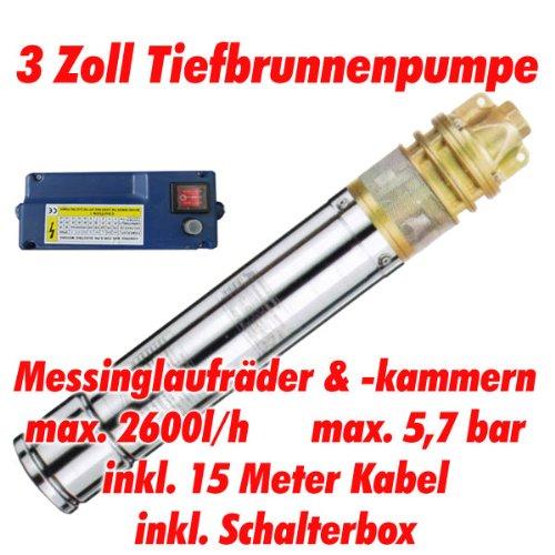 AT- 3 Brunnenpumpe 750W-1 mit 15 m Kabel Edelstahl-Tiefbrunnenpumpe mit Messing-Laufrädern und max: 5,7 bar, 3000l/h bei 7 m Agora-Tec AT 001 002 007