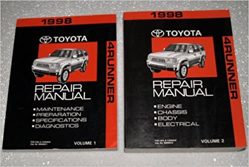 1998 Toyota 4Runner Factory Repair Manuals RZN180 RZN185 VZN180 VZN185 Series 2 Volume Complete Set Amazon Books