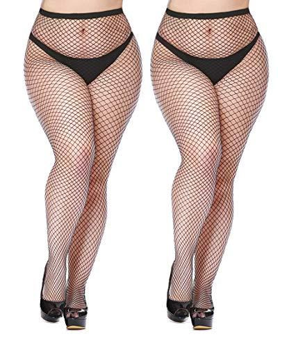 Womem's Sexy Black Fishnet Tights Plus Size Net Pantyhose Stockings (Black #4, Plus Size)
