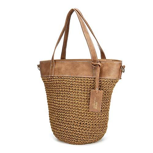 - JOSEKO Straw Handbag, Women Weaving Bucket Bag Outdoor Casual Cross Body Bag Brown 12.60''L x 7.87''W x 11.02''H