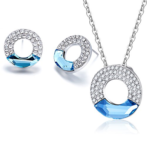 Valentine's Day Gift Mondaynoon SWAROVSKI ELEMENTS Crystal Concentric Circle White Gold Plated Charm Pendant Necklace Earrings Statement Jewelry Set for Women (Sea (Circle Birthstone Charm)