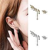 heaven2017 Women's Asymmetric Leaf Ear Clip Chain Drop Dangle Ear Cuff Stud Earrings