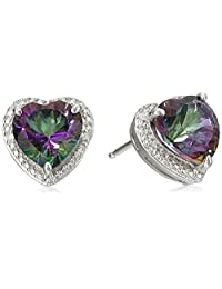 Sterling Silver Mystic Fire Topaz and Diamond-Accented Heart Stud Earrings