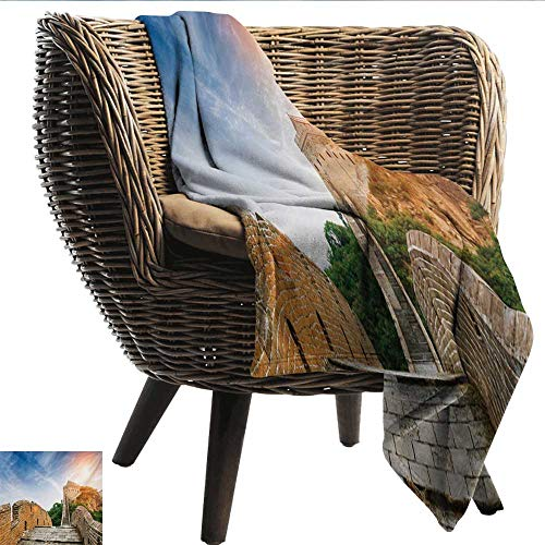 Home Throw Blanket Great Wall of China Legendary Dynasty Monument on Cliffs Historical Countryside Art Design Light and Warm W40 xL60 Sofa,Picnic,Camping,Beach,Everyday ()