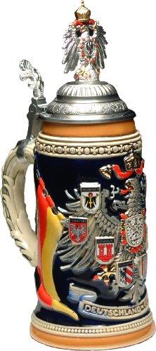 Beer Stein by King - Germany CoA German Beer Stein (Beer Mug) 0.75l with Pewter CoA painted Lid by KING