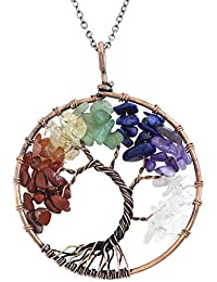 "Tree of Life Wire Wrap 7 Chakra Gemstone Pendant Necklace on 30"" Chain"
