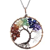 "Tree of Life Pendant Copper Wire Wrap 7 Chakra Healing Gemstone Necklace on 30"" Chain (Antique Copper)"