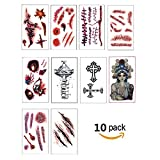 Halloween Scars Temporary Tattoos Removeable  for Zombie Vampir Cosplay Birthday Party Favors- 10 sheet