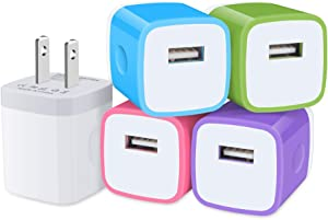 Sicodo USB Plug, Charging Block, 5Pack 1A/5V Single Port USB Wall Charger Brick Power Adapter Compatible iPhone X 8 7 6S Plus, iPad, Samsung Galaxy S20 S10e S9 S8 S7 Note 20, LG, HTC and More