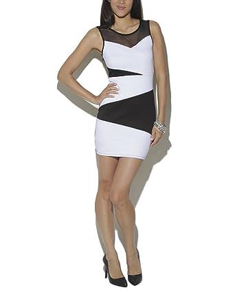 Wet Seal Womenu0027s Colorblock Mesh Bodycon Dress L Black/White