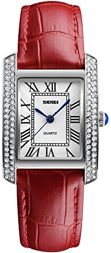 Women Fashion Rectangle Dial Leather Strap Analog Quartz Watches Waterproof Luxury Rhinestones Wristwatches Dress Watch (Silver Red) Red Luxury Leather