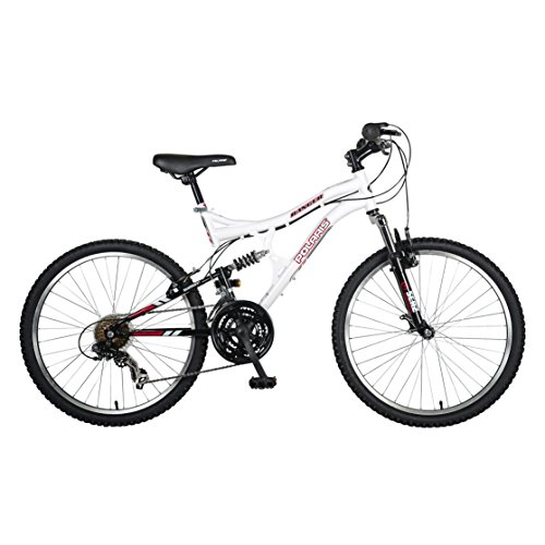 Polaris Ranger Full Suspension Mountain Bike, 24 inch Wheels, 17 inch Frame, Girl's Bike, White