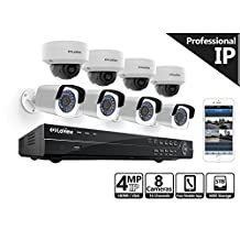 LaView 4-Megapixel (2688 x 1520) 16 Channel PoE NVR - 8 Security Camera System, 4 4MP Bullet & 4 4MP Dome IP Surveillance Cameras, 100ft Night Vision, Pre-Installed 5TB Hard Drive