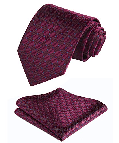 Enmain Check Jacquard Woven Men's Wedding Silk Tie Pocket Square Necktie Set Burgundy / Blue