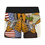 InterestPrint Men's All-Over Print Boxer Briefs Fashion with Military Boots with Us Flag and Flowers XS